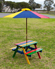 Kids Picnic Table Setting W/ Umbrella Wooden Children Garden Park Outdoor Kid