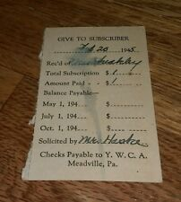 1945 YWCA Meadville Pennsylvania Subscription receipt Young Woman Catholic assoc