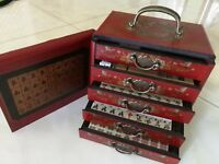 Chinese Mah-Jong 144 Game Set With wooden Leather Box set