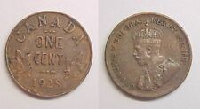 1928 Cent Canadian Canada George V Fine - Very Fine F - VF