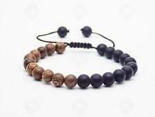 Handmade Agate Mens Black Sandalwood Wooden Bracelet Reiki Healing Bead Gift UK