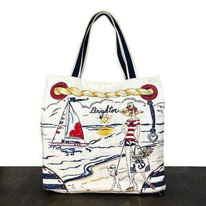 BRIGHTON Boardwalk Canvas Shopper Tote Beach Bag 100% Cotton Canvas Fashion