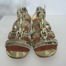 Coach Womens 7.5 M Tesa Python Gladiator Sandals Leather Shoes Gold Chain