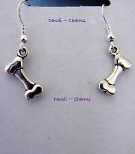 Dog Bone Small Earrings - Silver Hooks and Tibetan Silver Charms