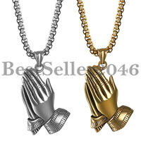 Men Women Stainless Steel Praying Hands Pendant Chain Necklace for Christian 22""