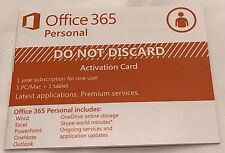 Microsoft Office 365 Personal 1 Year Subscription Key Card 1 PC+1 Tab+1 Phone