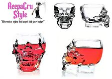B57 Two Gift Boxed Skeleton Skull of Doom Punk Rock Goth 75ml Clear Shot Glass