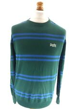 SUPERDRY Mens Jumper Sweater M Medium Green Blue Stripes Cotton