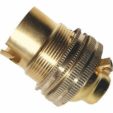 Bayonet Cap B22 Earthed Lamp Bulb Holder in Polished Brass 10mm F/M Entry