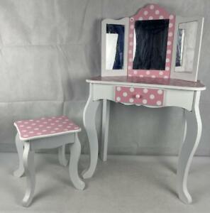 Teamson Kids Vanity Set Wooden Table with Mirror & Stool Pink  - Damaged