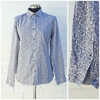 Ted Baker Blue & White Floral Long Sleeved Cotton Shirt Size 3 UK 12 OFFICE WORK