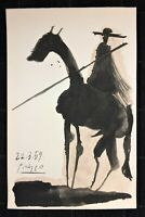 PABLO PICASSO HAND DRAWN, SIGNED AND DATED * TOROS Y TOREROS * ON CARDSTOCK 1959