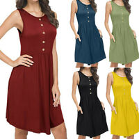 Women's Fashion Summer Sleeveless Casual Loose Swing T-Shirt Dress with Pockets