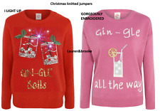 WOMENS EMBROIDERED OR LIGHT UP GIN CHRISTMAS JUMPERS S M L XL BNWT