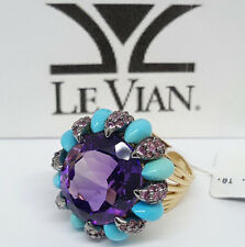 LeVian 14k Yellow Gold Amethyst, Turquoise & Pink Sapphires Fashion Ring $2,497