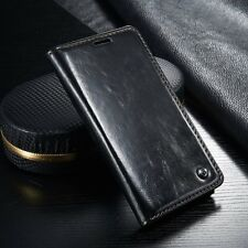 for Samsung S6 - Black Leather Folio Book Case Magnetic Wallet Pouch Cover