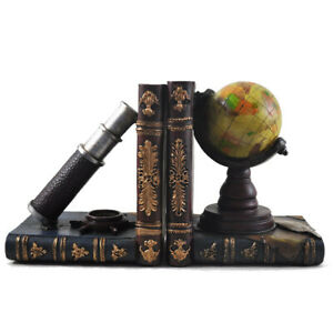 Globe, Telescope & Compass Shelf Tidy Bookends Vintage Style 12507