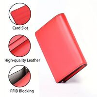 RFID Blocking Women's Wallet Credit Cards Holder Genuine Leather Orange Red G9C