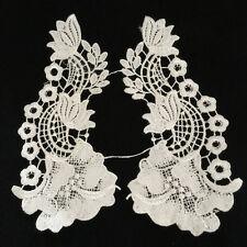 1 Pair Vintage Polyester  Lace Trim Applique Wedding Bridal Dress Sewing DIY15