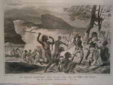 gravure 19° voyage Cook : Parage de pëche avec habitant riviére Endéavour
