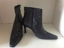 DUNE BLACK LEATHER HIGH HEELED ZIPPED ANKLE BOOTS SIZE 8/41 POINTED SQUARE TOES