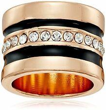 NEW GUESS GOLD+BLACK TONE+CRYSTALS GLITZ,WIDE BAND,RING SIZE 8 (294847-21)