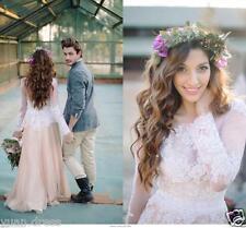Boho Bohemian Wedding Dresses 2018 Spring Chiffon Lace A-Line Beach Bridal Gowns
