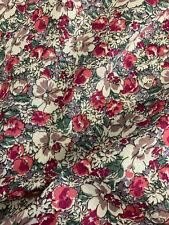2.3 Metres Muticoloured Retro Flowers Floral 100% Cotton Poplin Fabric. 150cm
