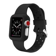 AMZER 38mm Soft Slim Silicone TPU Bumper Band Strap Case for Apple Watch - Black