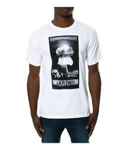 KR3W Mens The Skr3wd Graphic T-Shirt, White, Medium