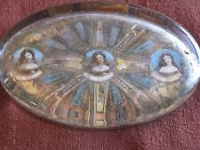FATHERS DAY GIFT - ANTIQUE/VINTAGE PAPERWEIGHT WITH CIGAR BANDS & LEATHER BASE