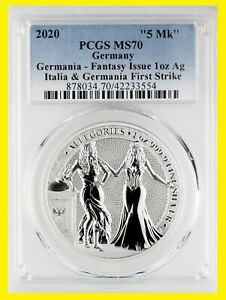 2020 1 oz Silver Allegories Germania & ITALIA PCGS MS 70 First Strike WITH COA