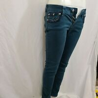 39670 Womens Miss Me Skinny Stretch Low Rise Dark Teal Denim Jeans Size 27 x 32