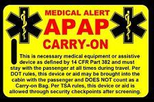 Safety Yellow Carry-On APAP  Bag Tag - TSA - CPAP BiPAP APNEA POC
