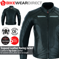 Leather Motorcycle Motorbike Jacket Black Mens Biker Racing Suit With CE Armour