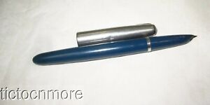 VINTAGE PARKER 51 FOUNTAIN PEN BLUE CEDAR ARROW CLIP BRUSHED STAINLESS CAP