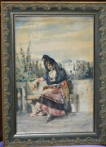 Antique Watercolor painting on paper by noted artist Adelchi deGrossi. ca 1880