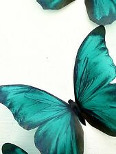 "4 Teal Blue in Flight 3D Butterflies Wall Butterfly Home Decorations 4"" Each"