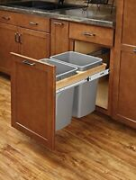 Richelieu Double 2 x 35 qt Waste Bin Pull-Out System Top Mount w/Soft-Close Wood