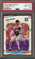 1988 Fleer Update Glossy # U-74 John Smoltz Braves Rookie RC Graded PSA 8 NM-MT