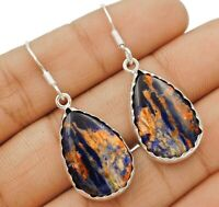 Natural Sodalite 925 Solid Genuine Sterling Silver Earrings Jewelry ED20-8