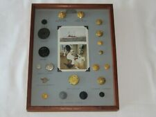 20 World War I & Ii Ww1&2 Us Military Uniform Pins Buttons Wood Frame Postcard