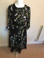 V By Very Printed 3/4 Sleeve Midi Dress Size 8 Black Floral