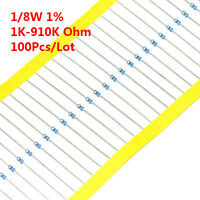 100Pcs 1/8W 1/8 W Metal Film Resistor ±1% 1K -910K Ω Ohm 1 K - 910 K