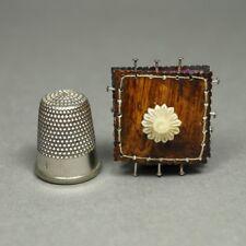 Vintage Replica Tiny Regency Pin Cushion Faux Rosewood Miniature Pincushion