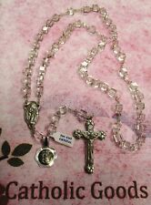 8 mm Tin Cut Clear Crystal with Deluxe Silver Ox Crucifix + Centerpiece - Rosary
