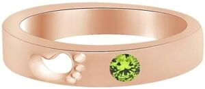 Round Shape Simulated Peridot Footprint Promise Ring  in  Silver