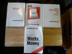 Packard Bell Original  486SX / DX Manuals - User, MS-DOS, Windows 3.1, Works & M