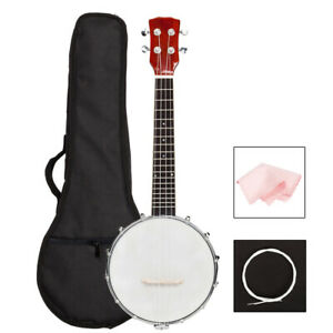 New High Quality Sapele 4 String Banjo with Bag and Accessories