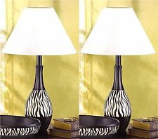 Set of Two ** Touch of Africa & Safari * ZEBRA STRIPE TABLE LAMPS & SHADES * NIB